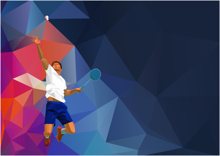 Polygonal geometric professional badminton player on colorful low poly background doing smash shot with space for flyer, poster, web, leaflet, magazine. Vector illustration