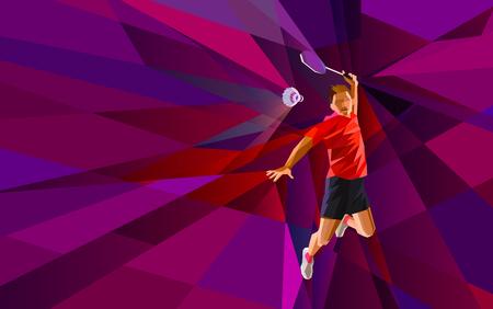 Jugador de bádminton poligonal geométrica profesional en el fondo colorido baja poli haciendo tiro romper con el espacio para el aviador, cartel, web, folleto, revista. Ilustración vectorial Foto de archivo - 48646736