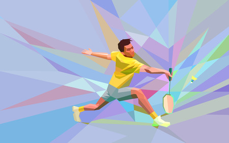 Polygonal geometric professional badminton player on colorful low poly background doing smash shot with space for flyer, poster, web, leaflet, magazine. Vector illustration Imagens - 48646737