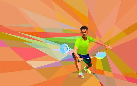 team sports: Geométrica poligonal jugador profesional de bádminton en el fondo colorido poli baja el hacer tiro con espacio para el aviador, carteles, web, folletos, revistas de derecha. ilustración vectorial Vectores