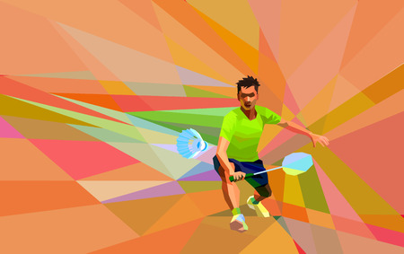Polygonal geometric professional badminton player on colorful low poly background doing forehand shot with space for flyer, poster, web, leaflet, magazine. Vector illustration