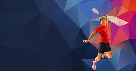 fondo geometrico: Jugador de b�dminton poligonal geom�trica profesional en el fondo colorido baja poli haciendo tiro romper con el espacio para el aviador, cartel, web, folleto, revista. Ilustraci�n vectorial