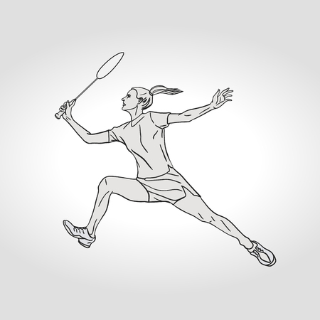 Female Badminton player. Black and white badminton player. Hand drawn vector illustration. Çizim