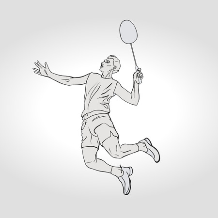 badminton: Vector illustration of Badminton player. Black and white badminton player during smash shot. Hand drawn.
