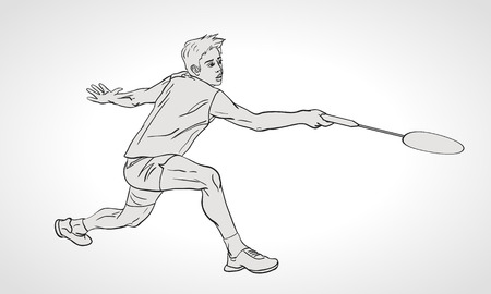 badminton: Vector illustration of Badminton player. Black and white badminton player during hit shot. Hand drawn.