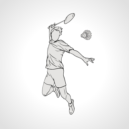 Vector illustration of Badminton player. Black and white badminton player during smash shot. Hand drawn.