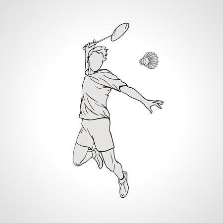Vector illustration of Badminton player. Black and white badminton player during smash shot. Hand drawn.
