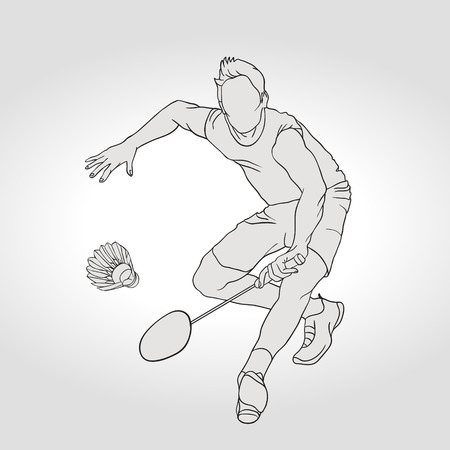 badminton: Vector illustration of Badminton player. Black and white badminton player during pass shot. Hand drawn. Illustration