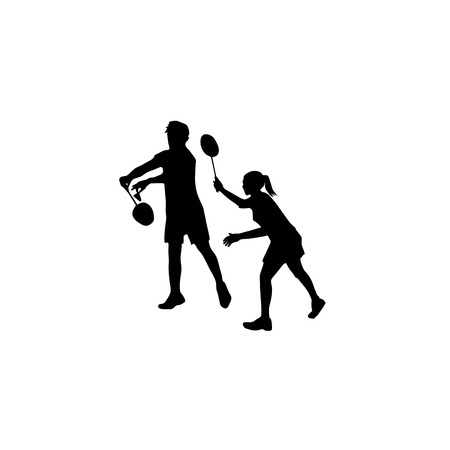 forehand: Silhouettes of mixed Team Badminton Players. Mixed doubles for badminton, male and female pair ready for left forehand serve