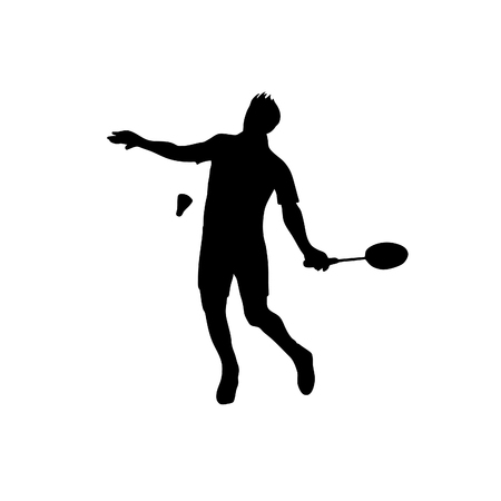 Silhouette of professional badminton player. Vector illustration