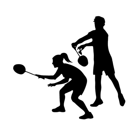 Silhouettes of mixed Team Badminton Players. Mixed doubles for badminton, male and female pair ready for left forehand serve