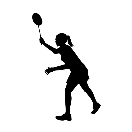 Silhouette of professional female badminton player. Vector illustration