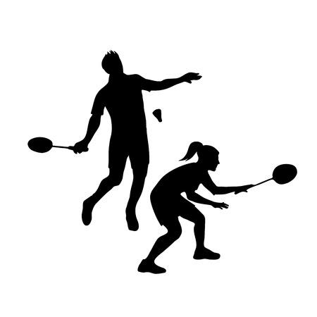 Silhouetten van gemengd team Badminton spelers. Gemengd dubbel voor badminton, mannelijke en vrouwelijke paar klaar voor het dienen
