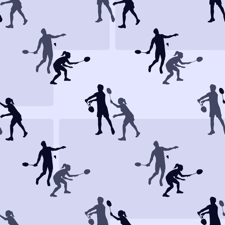 badminton: Badminton sports pattern. Seamless vector background with badminton players silhouettes and shuttlecocks for wallpaper, pattern fills, web page background, surface textures.