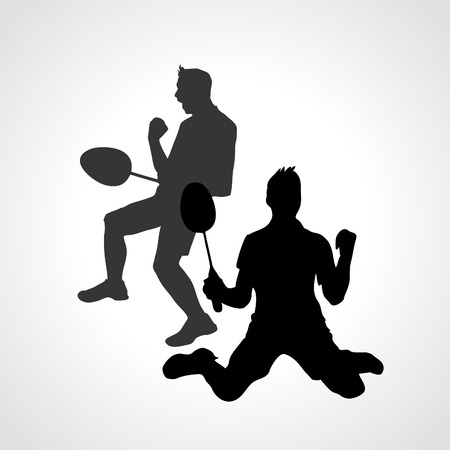 Silhouettes of mens double Team Badminton Players. Vector illustration