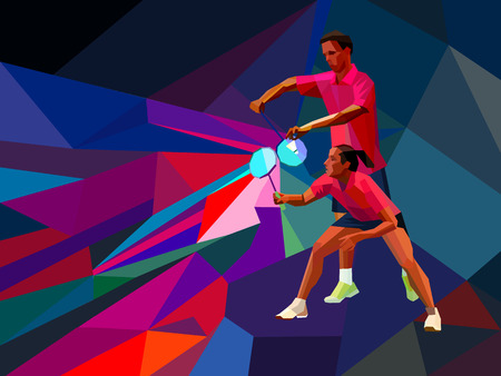 badminton raquette: Badminton mélangé équipe de double, homme et femme commencent jeu de badminton, sports d'illustrations vectorielles en style design triangles polygonale