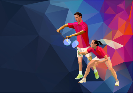 Badminton mixed doubles team, man and woman start badminton game, vector sports illustration in polygonal triangles design style