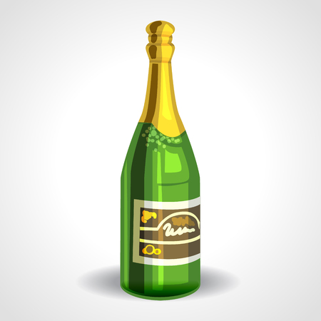 toasting wine: champagne bottle with gold foil isolated on white background