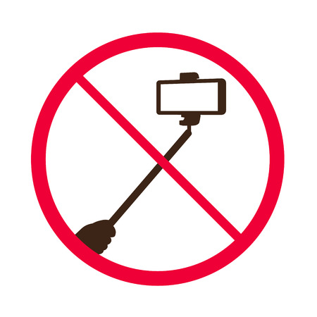 tech no: No selfie sticks. Do not use monopod selfie prohibited sign. Vector illustration