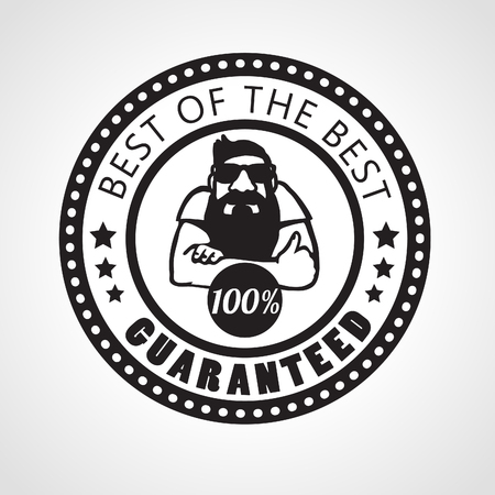 approving: Best of the best, Satisfaction guaranteed sign, vector label with beard man approving with thumb up, black and white sticker Illustration
