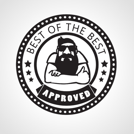 approved stamp: Vector approved stamp, best of the best label with beard man approving with thumb up, black and white sticker