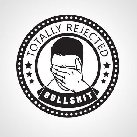 ashamed: Rechazado vector sello, etiqueta totalmente rechazada, con la cara de mierda palmed hombre o el hombre avergonzado que cubre sus ojos con la mano