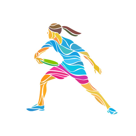 Female player is playing Ultimate Frisbee. Black silhouette of flying disc player. Vector color illustration