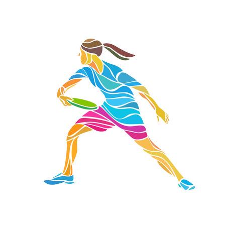 Reproductor femenino está jugando Ultimate Frisbee. Negro silueta del jugador de disco volador. Vector ilustración en color Foto de archivo - 49482179