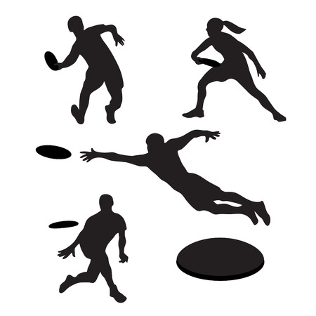 Men playing ultimate frisbee 4 silhouettes. Vector illustration Çizim