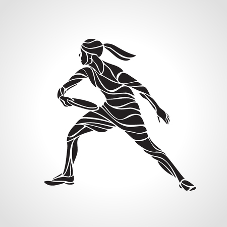 Female player is playing Ultimate Frisbee. Black silhouette of flying disc player. Vector lineart illustration