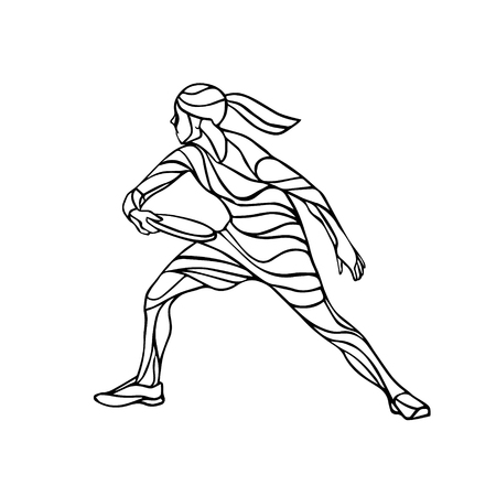 Female player is playing Ultimate Frisbee. Silhouette of flying disc player. Vector lineart illustration