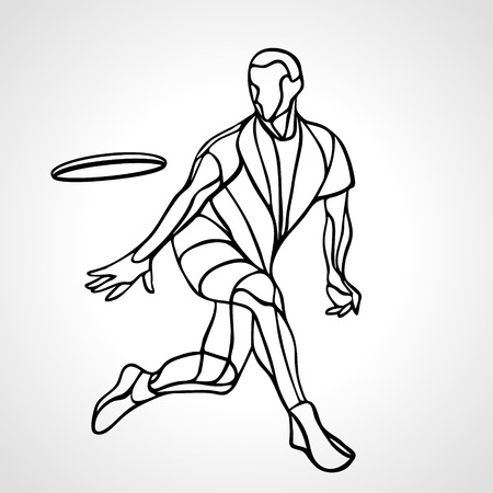 Sportsman throwing ultimate frisbee. Lineart clipart, vector illustration Çizim