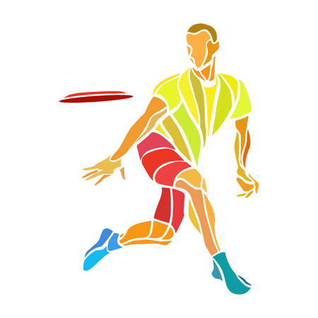 Sportsman throwing ultimate frisbee. Lineart clipart, color vector illustration Vectores