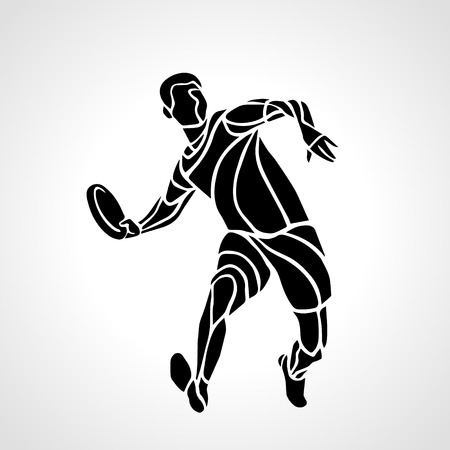 Sportsman throwing frisbee. Lineart clipart, vector illustration Illustration