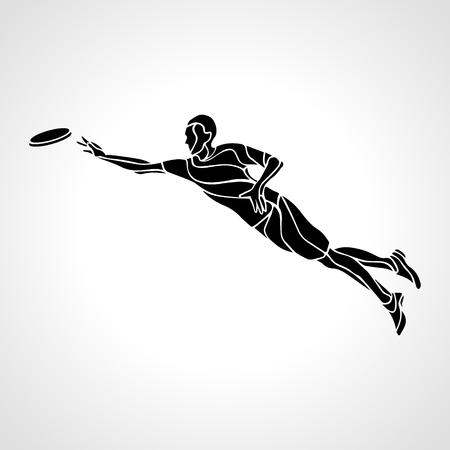 lineart: Sportsman throwing frisbee. Lineart clipart, vector illustration Illustration