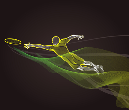 Sportsman throwing frisbee. Lineart clipart, color illustration