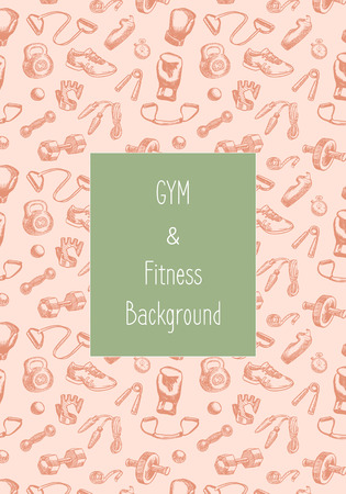 Fitness doodle hand drawn pattern. Sports, gym and training Seamless vector background. Seamless pattern can be used for wallpaper, pattern fills, web page background, surface textures.