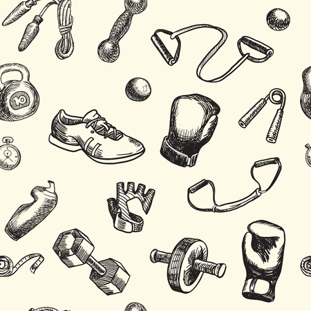 espander: Fitness doodle hand drawn pattern. Sports, gym and training Seamless vector background. Seamless pattern can be used for wallpaper, pattern fills, web page background, surface textures.
