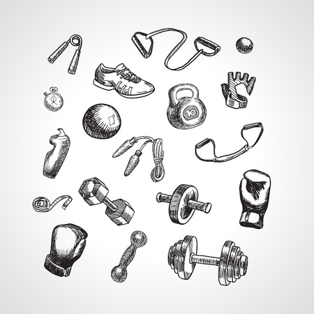 Fitness and gym vector accessories set. Hand drawn Fitness Equipment. Kettlebell, ball, espander, jump rope, rubber band, Boxing gloves, measuring tape, sneakers in sketch style. Illustration
