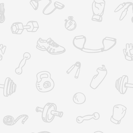 boxing tape: Fitness and gym hand drawn seamless pattern. Light sports seamless vector background with kettlebell, dumbbell, stopwatch, boxing gloves, measuring tape and other Fitness Equipment Illustration