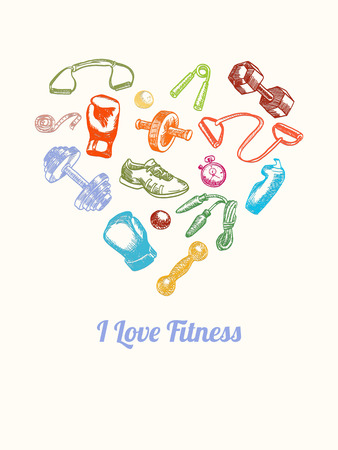 espander: Fitness and gym Background. Hand drawn colorful icons set in the shape of heart. Fitness Equipment shaped a heart