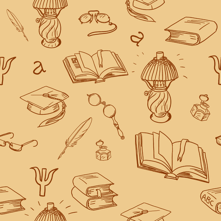 a literary sketch: Books library seamless pattern. Reading background -- hand drawn doodle pattern. Seamless pattern can be used for wallpaper, pattern fills, web page background, surface textures.