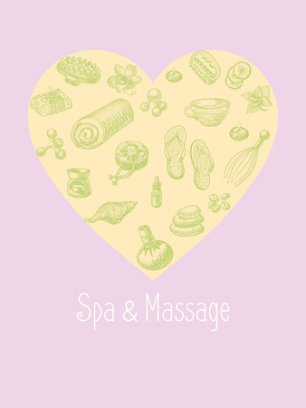 handmade soap: SPA and massage vector accessories set in the shape of heart. Wellness and healthy lifestyle hand drawn icons shaped a heart
