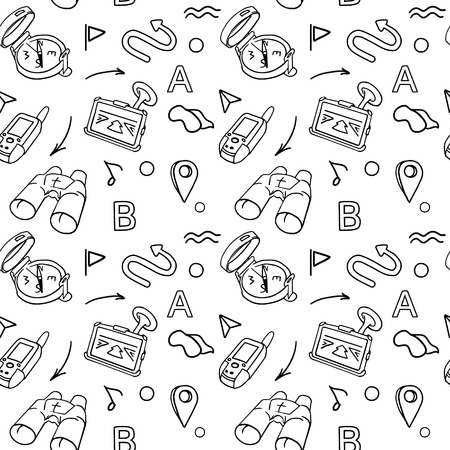 Navigation hand drawn seamless pattern with car Navigator, binoculars, compass and road signs. Vector illustration