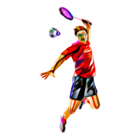 Polygonal geometric professional badminton player illustration on white background doing smash shot
