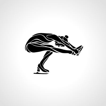 pirouette: Winter sport. Ladies figure skating silhouette.  Ice show.  Illustration