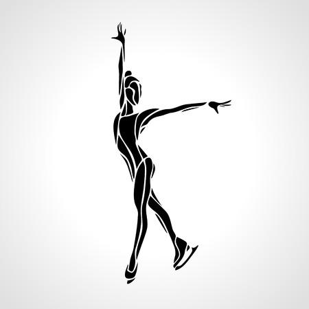 冬のスポーツ。女性のフィギュア スケートのシルエット。 氷ショー。