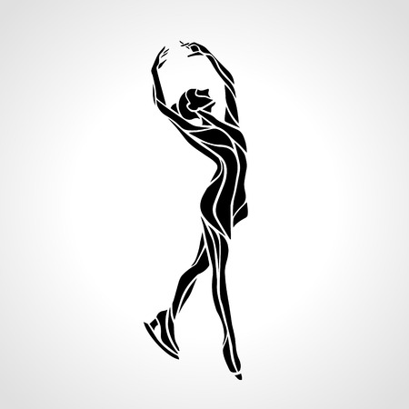Winter sport. Ladies figure skating silhouette.  Ice show.  Illustration