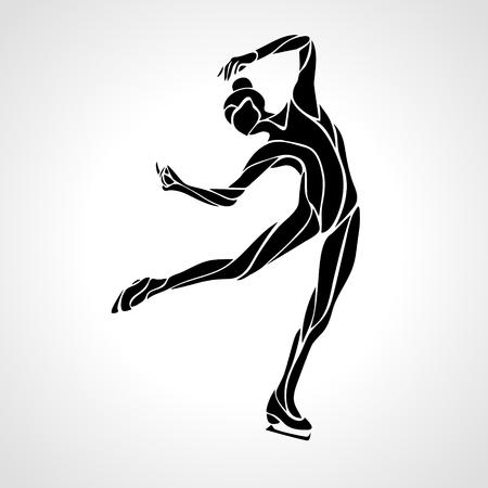 Deporte de invierno. Patinaje artístico las señoras silueta. espectáculo sobre hielo. Ilustración de vector