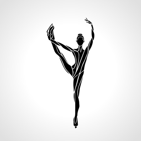 winter sport: Winter sport. Ladies figure skating silhouette.  Ice show.  Illustration